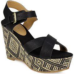 Πλατφόρμες ζακάρ με λουράκι - Γυναικείες πλατφόρμες με σχέδιο ζακάρ και λουράκι του οίκου Gioseppo. Το καλοκαίρι θέλει άνεση αλλά και στυλ, κι αυτό το παπούτσι έχει το... Wedges, Shoes, Fashion, Moda, Zapatos, Shoes Outlet, Fashion Styles, Shoe, Footwear