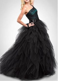 Elegant Tulle & Satin Ball Gown One-Shoulder