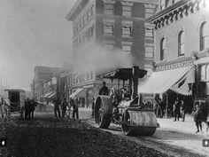 October 1911 Brandon, Manitoba. Paving Rosser Ave from 8th Street to 10th Street