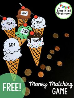 Great way to practice money amounts for first or second graders!  Could be a math center too!