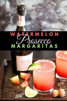 Watermelon Prosecco Margaritas - Cooks With Soul - -You can find Margaritas and more on our website.Watermelon Prosecco Margaritas - Cooks With Soul - - Beste Cocktails, Prosecco Cocktails, Cocktail Drinks, Cocktail Recipes, Watermelon Cocktail, Watermelon Margarita, Watermelon Recipes, Fun Cocktails, Fancy Drinks