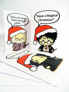 Cute and magical Christmas cards sporting my festive behatted Potter characters, inspired by the much loved novels by J.K.Rowling and her amazing