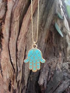 Hamsa Necklace Hamsa Pendant Gold Necklace by NatashaLaria on Etsy