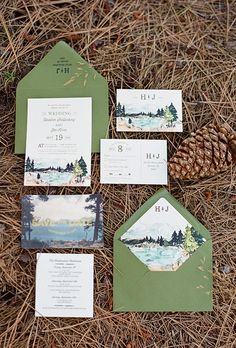 "Brides.com: . ""Lake Tahoe"" rustic destination wedding invitation, $3.00 each, Wide Eyes Paper Co."
