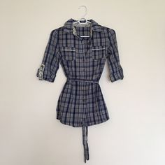 Stylebook Tunic Plaid tunic with lace accents and waist tie Stylebook Tops Tunics
