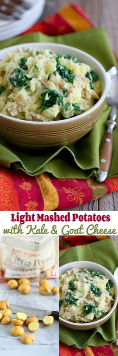 Light Mashed Potatoes with Kale and Goat Cheese…The perfect side dish for any healthy meal! 129 calories and 3 Weight Watchers PP | cookincanuck.com #recipe #CreamerPotatoes