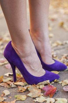 Purple suede heels,