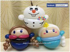 Q Frozen Frozen Balloons, Mini Balloons, Balloons And More, Balloon Crafts, Balloon Decorations, Balloon Face, Balloon Cartoon, Frozen Dolls, Christmas Balloons