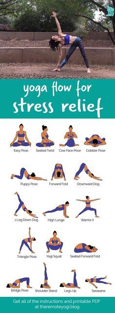 Yoga Flow For Stress Relief This printable PDF is the perfect thing to have hand. Yoga Flow For Stress Relief This printable PDF is the perfect thing to have handy when you are stressed and needing a little breather. Yoga Beginners, Beginner Yoga, Yoga Stress, Yoga For Stress Relief, Stress Relief Exercises, Natural Stress Relief, Yin Yoga, Yoga Meditation, Kundalini Yoga