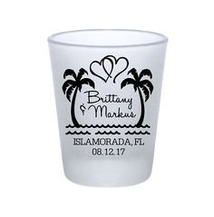 "100x Frosted Destination Wedding Shot Glasses Custom Wedding Favors | 1.75 oz | Beach Love (1A) | Choose Imprint Color | by ""ThatWedShop"" on Etsy 
