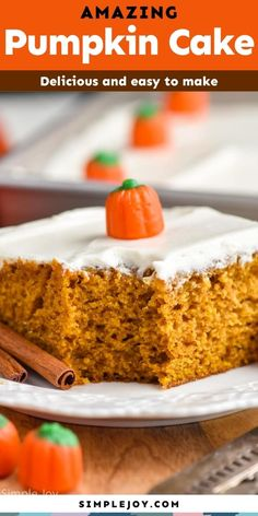 This Pumpkin Cake is easy to make, moist, and delicious - the perfect fall treat! Topped with the best cream cheese frosting, you won't be able to resist this amazing pumpkin spice cake. Pumpkin Spice Cake, Pumpkin Bars, Baked Pumpkin, Pumpkin Dessert, Fall Desserts, No Bake Desserts, Dessert Recipes, Cake Recipes, Pecan Cookie Recipes