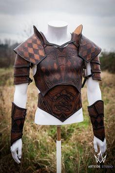 Armure cuir noire set complet médiéval fantastique