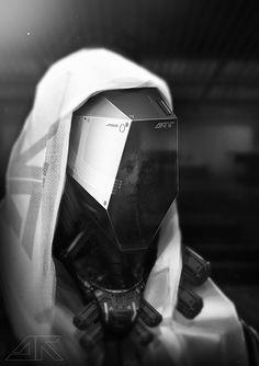 Nunbot by Daniel Hahn (a.a) Daytoner Futuristic Helmet, Futuristic Armour, Futuristic Design, Robot Design, Helmet Design, Mask Design, Techno, Robot Concept Art, Suit Of Armor