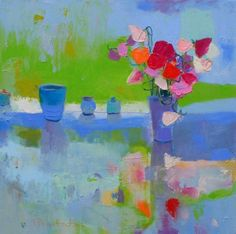 Teresa Pemberton - A collection of vessels with sweet peas
