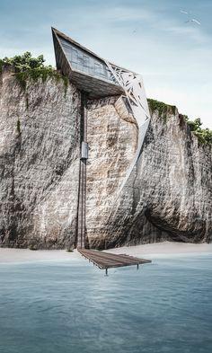Wedge Cliff House by Wael Mustafa | Schema Seven.  Al-Bayada on Tyre Sea shore.