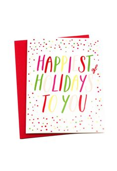 Happiest of Holidays Card in such a fun, cheery palette.