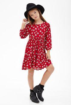 Ruffled Daisy Print Dress (Kids)   FOREVER21 girls - 2000102228