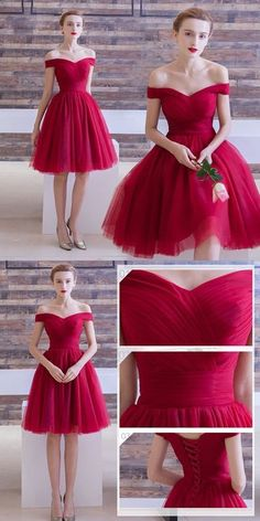 Red Homecoming Dresses,off the shoulder Homecoming Dresses,Simple Homecoming Dresses,tulle cocktail dress