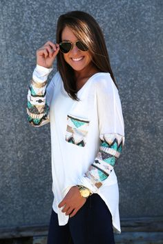 Sequin Glam Tunic {White} from The Rage. Saved to Fashion+Style. Shop more products from The Rage on Wanelo. Fall Outfits, Casual Outfits, Cute Outfits, Fashion Outfits, Womens Fashion, Estilo Fashion, Look Cool, Swagg, Passion For Fashion