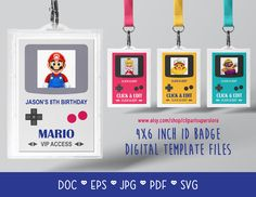 ID Badge Tag Video Game Party DOC PDf SVG Instant Download Printable Font Editable Template Digital File by clipartsuperstore on Etsy Digital Stamps, Digital Scrapbooking, Name Badge Template, Silhouette Cameo Free, Edit Font, Video Game Party, Name Badges, Badge Design, Party Items