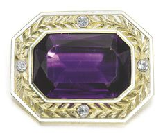 A Fabergé Imperial Presentation jewelled gold and enamel brooch, workmaster August Hollming, St Petersburg, 1908-1917, rectangular with cut corners, centred with a step-cut amethyst, the frame of openwork chased laurel issuing from four circular-cut diamonds within white line borders. Purchased for 115 roubles by the Imperial Cabinet for Empress Maria Feodorovna's trip to Denmark and Norway in 1908.