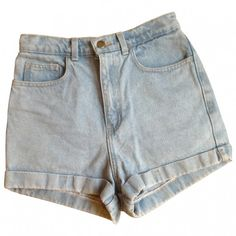Blue Denim Jeans Shorts AMERICAN APPAREL (2.075 RUB) ❤ liked on Polyvore featuring shorts, bottoms, american apparel shorts, zipper shorts, high rise shorts, high-rise shorts and highwaist shorts