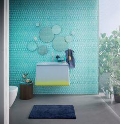 wandmontiertes Waschbecken mit kompaktem Unterschrank in Pastell und Neonfarben
