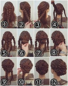 Face it: pulling your hair up during the summer is a necessity — especially if you want to enjoy the sunshine. Crown braids are the answer. The great weather may have you sweating (or shall we say glistening), but this great hairstyle will cool you off! Work Hairstyles, Braided Hairstyles, Wedding Hairstyles, Wild Hair, Braided Updo, Bridesmaid Hair, Prom Hair, Hair Dos, Bridal Hair