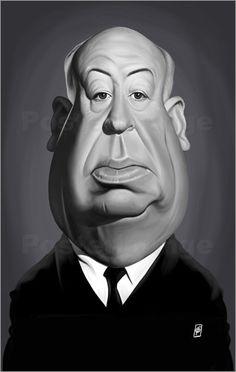 Rob Snow   caricatures - Alfred Hitchcock art   decor   wall art   inspiration   caricatures   home decor   idea