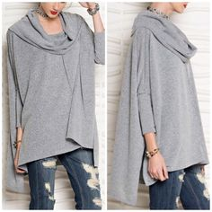 Fabulous Gray oversized Cowel Neck Tunic Do Not Buy this listing . Love this style sweater that is perfect with denim or leggings ! Many of my clients were searching for this style so it is here now . Exposed raw edge seams Limited quantity available . 3 colors - gray ,mauve and blue . Can be worn off the shoulder or as a cowel neck . High low side slit detail . Please comment for size S M L availabilty as inventory changes quickly . Nwot . Color is light gray on cover shot . Vivacouture…