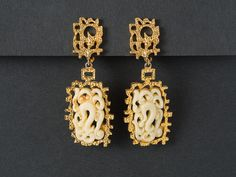 Vintage Vendome Faux Jade Chandelier Earrings  from ShinyShelly