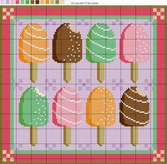 Ice Cream Sticks Needlepoint Pattern and Instructions