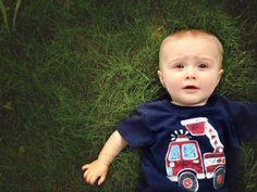 Baby in grass photo. Summer baby photo ideas. 3 month old baby photo ideas. 6 month old baby photo ideas.