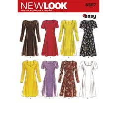 Misses' dresses with neckline and sleeve variations. New Look sewing pattern.