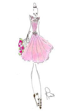drawing feathers in fashion | sketch by fashion designer Rodarte