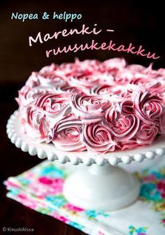 Helppo marenki-suklaakakku | Yllättävän helppo tehdä. Kakku myös säilyy huoneenlämmössä normaalia kermakakkua pidempään. Cakes To Make, Fancy Cakes, How To Make Cake, Baking Recipes, Cake Recipes, Finnish Recipes, Piece Of Cakes, Pavlova, Something Sweet