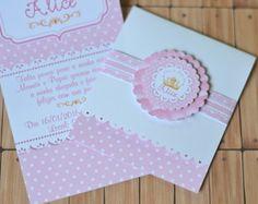 Convite Princesa - Bordado com selo