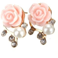 Crystal Resin Rose Flower Stud Earring (44 ZAR) ❤ liked on Polyvore featuring jewelry, earrings, rose flower stud earrings, crystal stone jewelry, crystal jewellery, crystal flower stud earrings and resin earrings