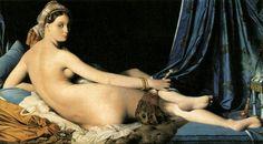 LA GRANDE ODALISCA (JEAN-AUGUSTE INGRES ) (1780-1867) Anche nella figura femminile nuda isolata, come in questa Odalisca mollemente appoggiata ai cuscini di seta, è evidente il purissimo gioco lineare tanto caro a Ingres.  E' come se una statua antica si fosse improvvisamente animata e il corpo avesse preso consistenza: la figura vibra di emozioni sottili e si riveste di una palpabile umanità. #art #LagrandeOdalisca #oil #canvas #history