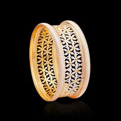 These gold bangles collection have wonderful patterns engraved on them using the laser cut technology. Buy these laser cut CNC gold bangles from Zar Jewels now! Plain Gold Bangles, Gold Bangles Design, Gold Jewellery Design, Gold Jewelry, Designer Jewellery, Diamond Jewelry, Antique Jewelry, Jewels, Gold Designs