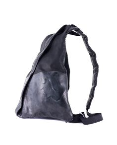 cef9ec0be9c9 O.X.S. RUBBER SOUL UNISEX LEATHER BACKPACK Black leather backpack worn-out  look one external zippered pocket coated with rubber on the lower part back  ...