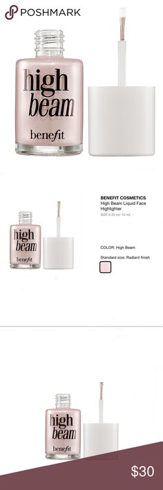 BENEFIT High Beam Liquid Face Highlighter, NWT! BENEFIT High Beam Liquid Face Highlighter FULL SIZE 0.33 oz/ 10 mL. Brand new, Never opened. From the Sephora Favorites GLOW gift box. What it is: A satiny-pink, liquid highlighter to add a subtle glow.  What it does: Create a radiant, dewy complexion for an ethereal glow that is perfectly alluring on all skin tones with this iconic, high beam highlighter. Use it as a spot highlighter over makeup or wear it underneath makeup for subtle…