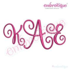 Alphabets & Lettering - Kimberly 2 Alternate Caps Calligraphy Monogram Set - Small on sale now at Embroitique!