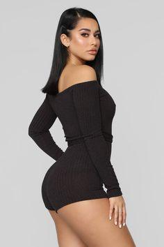Sleepless Nights Off Shoulder Romper - Black Long Romper, Long Sleeve Romper, Black Romper, Tight Dresses, Sexy Dresses, Woman Dresses, Pretty Latinas, Fit Women, Sexy Women