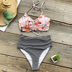 Cupshe Flower Print Tank Bikini Set Women Lace Up High Waisted Striped – FuzWeb Blue Bikini Set, Bikini Sets, Floral Bikini Set, Striped Bikini, Bandeau Bikini, Bikini Swimwear, Summer Swimwear, Bikini Beach, Swimwear Fashion