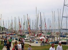 The Black River... Day before the Bayview Yacht Club's Port Huron to Mackinac race. It's a pre race party hardy night. A zillion boats, people, food and fun. #Sailing #boats