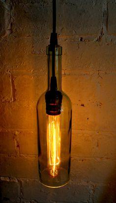 Handmade Bottle Lamp Industrial lighting by Rebelia on Etsy