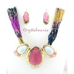 Set de collar y aretes  de chakira en color rosa y  azul con detalles en tono blanca y  rosas estilo 30059
