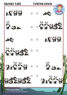 Samen 6, rekenen met kleuters, thema China, kleuteridee, free printable. Panda Love, Panda Bear, Panda China, Preschool Lessons, Ancient China, Chinese Culture, Chinese New Year, Teaching, Math