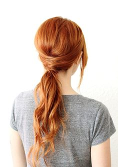 Criss Cross Pony - Easy Spring Hairstyles I really like the style. Not the color but the hair do is very cute.
